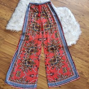 Flying Tomato Red Blue Print Palazzo Pants Size S